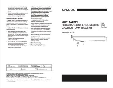 MIC* SAFETY PERCUTANEOUS ENDOSCOPIC GASTROSTOMY (PEG) KIT